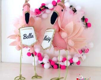 Flamingo Personalised Free Standing Ornament Decoration Cake Topper Pink Birthday