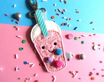 Bubble Tea with extra sprinkles Ornament-keyfob-keychain-keyring-bag charm-sew on patch-cute