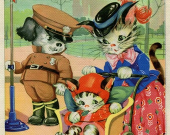 1930 Vintage Mom Cat,  Kitten and Policeman Pup at the Street Corner Bookplate Illustration, Print, by  Ruth E Newton, Nursery Decor