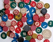 Lot of 1930's Vintage Game Pieces, Wood Discs, Circles, Numbers, etc. for Creative Use 80 Pc