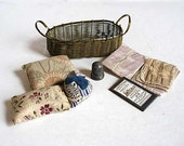 Sweet Lot of Antique Victorian Sewing Items, Strawberry, Needle Keeper, Pincushions, Basket