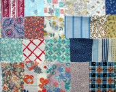 Vintage Fabrics Scraps Bundle, Three dozen Vintage Cotton, Calico and Feed Sack Fabric Scraps for Quilting, Small Projects, Vtg Charm Pack