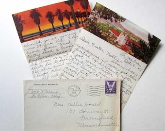 Handwritten letter from santa etsy vintage 1944 handwritten letter from lahabra ca with pictorial santa barbara scenes note paper cancelled envelope dear sister nellie spiritdancerdesigns Gallery