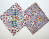 Two 9 Patch Diamond on Square Design 1930 39 s Vintage Feed sack Fabrics Quilt Blocks, Quilt Squares for Sewing, Decor, Projects