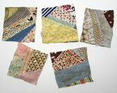 Set of 5 1930 39 s Vintage Shabby Feedsack Quilt Patchwork Scrap Squares, Pieces for Sewing, Journals, Scrapbooks, Projects, Timeworn Scraps