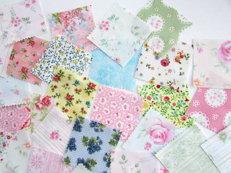 40 Floral Designs  2 Inch Size Scraps Notebooks Journal Pocket Add Ons Small Sewing /& Quilting Projects Fabric Scraps for Journals