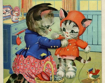 1930 Vintage Mom Cat Getting Kitten Ready to Go Outdoors Bookplate Illustration, Print, by  Ruth E Newton, Nursery Decor