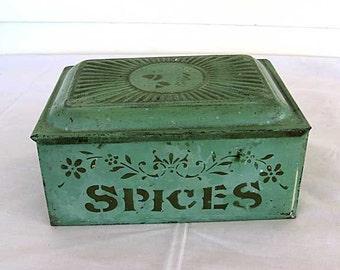 Antique Victorian 1890's Tin Spices Box in Original Mint Green Paint w Stencil Decoration