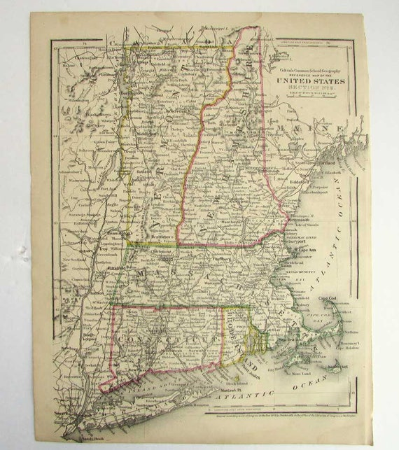 Antique 1873 New England States US Map with Hand Colored Accents, Original  Colton School Geography 9 x 12 Bookplate Map, Wall Decor Map