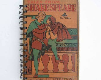 Blank Journal, Notebook, Journal. Upcycled Book Journal, Vintage Book Journal, 1920's  Shakespeare School Book , Recycled Book Covers