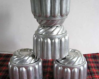Set of 4 Vintage 1950s Small Size Aluminum Rope and Wreath Molds, Jello, Food, Creative Use Soap Candle