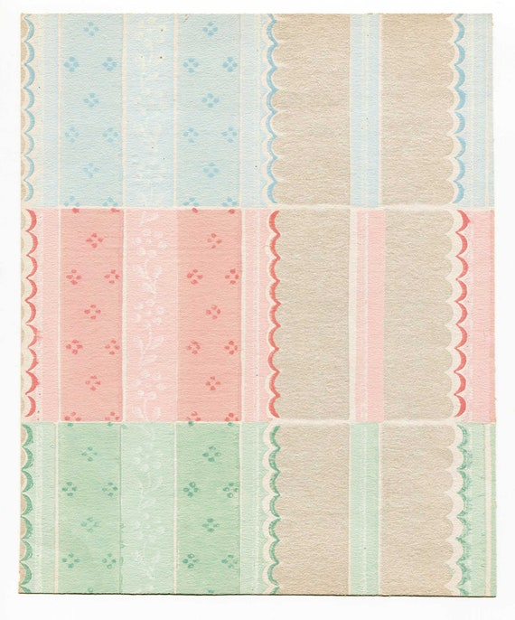 Vintage 1940 S Wallpaper Sheet Art Deco Candy Box Colors Decorative Paper For Framing Journals Art Work Original Paper