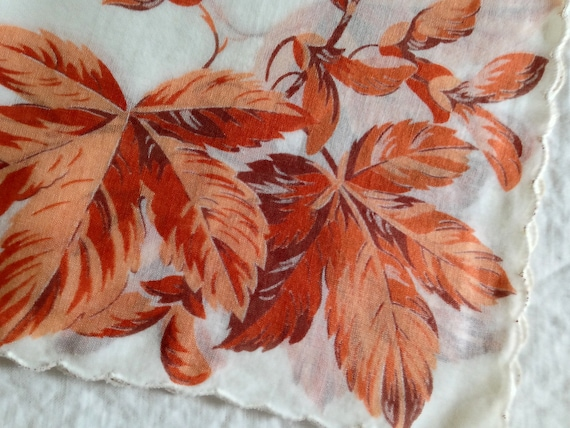 Autumn Brown Leaves on Large VINTAGE Scalloped Hem Cotton Hankie Handkerchief