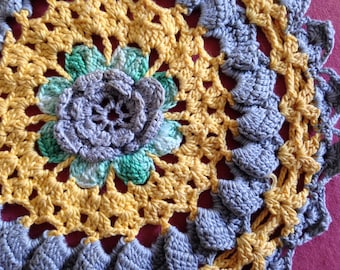 Vintage Crochet Doily Gray Yellow Green   Round Crocheted Vintage Doily