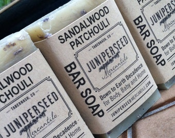 Sandalwood Patchouli- 4 Pack of Half Bars - Guest Soap, Stocking Stuffer, Thank You gift - All Natural Vegan Soap For Men and Women