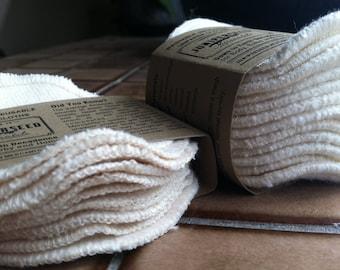 Unbleached Organic Cotton Sherpa Alternative to Disposable Facial Poufs - 12 Fleece Rounds Plus BONUS wash bag