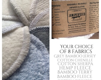 Washable Alternative to Disposable Facial Poufs - You Pick From 8 Fabrics - Bamboo, Cotton, Hemp - 12 Cosmetic Rounds Plus BONUS wash bag