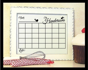 NEW - Personalized Reuseable Family Calendar - Vinyl Decal
