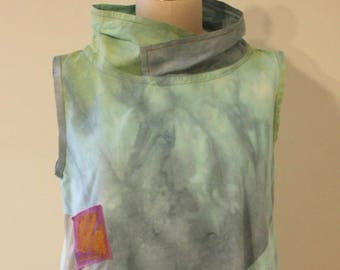 Hand Dyed Sleeveless Cotton Tunic in Sage, Turquoise, Olive, and Blue