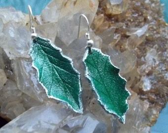 Green Holly Leaf Earrings