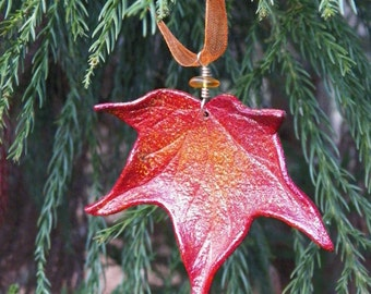 Sculpted Leather Sweet Gum Leaf Ornament