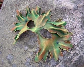 Autumn Green Man Leather Mask