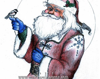 Father Christmas and the Chickadee Holiday Greeting Card