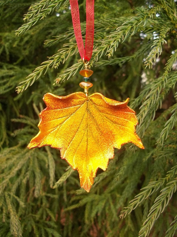 sculpted leather maple leaf ornament etsy etsy