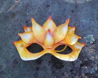 Yellow Lotus Leather Mask