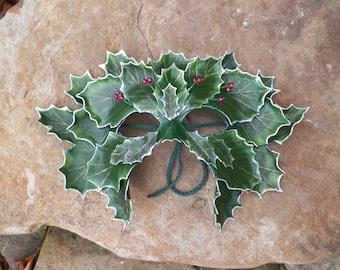 Holly Leaf Leather Green Man Mask