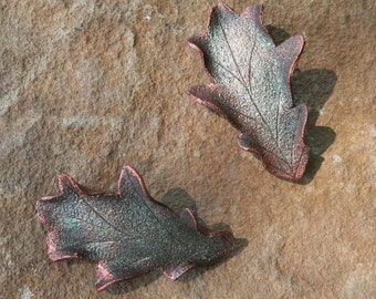 Leather Oak Leaf Hair Barrettes in Brown