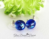 Sparkling Glass Stud Earrings, Dichroic Glass Jewelry, Primary Shade Sapphire Blue, Hawaii Handmade, Fused Glass Studs, Stylish Studs