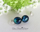 Sparkling Glass Stud Earrings, Emerald Green and Blue, Fused Dichroic Glass Studs, Hawaii Handmade, Dichroic Glass Jewelry, Art Glass Studs