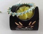 Beaded Macrame Bracelet, Boho Stack Bracelet, Handmade Knotted Bracelet, Powder Blue, Heart Charm, Friendship Bracelet, Bollywood Bracelet