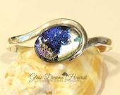 Shimmery Glass Cuff Bracelet, Oval Wave Bangle Bracelet, Art Glass Bracelet, Handmade Fused Dichroic Glass, Opalescent Hues