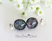 Striking Glass Stud Earrings, Dichroic Glass Jewelry, Teal and Amethyst Hues, Fused Glass Studs,  Fashionable Studs