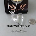 Glass Heart Necklace, Lampwork Glass Heart, Boro Glass Heart, Handcrafted Lampwork Glass. Clear Glass Heart Pendant
