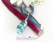 Art Glass Pendant, Handmade Lampwork Glass, Flower Vine Glass Bead Necklace, Romantic Glass Pendant, Something Blue Bridal Gift