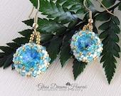 Beaded Crystal Dangle Earrings, Swarovski Crystal  Dangle Earrings, Swarovski Glacier Blue Rivolis, Beaded Bezel Crystal Earrings