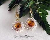 Elegant Beaded Bezel Rivoli Dangle Earrings, Swarovski Crystal Topaz Rivolis, Swarovski Crystal Pearls, Gold Plated Surgical Steel Ear Wires