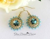 Sparkling Crystal Dangle Earrings, Swarovski Crystals, Light Turquoise, Hand Beaded Rivoli Crystals, Classic Style Beaded Earrings