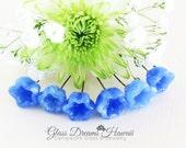 Lampwork Glass Bellflower Headpins (6), Periwinkle Blue Lampwork Beads, Hawaii Handmade Lampwork, Lampwork Glass Beads, Jewelry Findings
