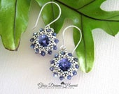 Stunning Crystal Dangle Earrings, Swarovski Tanzanite Crystal Earrings, Hand Beaded Drop Earrings, Timeless Jewelry, Gifts For Her