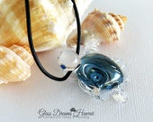 Glass Turtle Pendant, Hawaiian Honu Pendant, Art Glass Turtle Pendant, Boro Glass, Handmade Lampwork, Black Leather Cord, Good Luck Symbol
