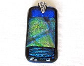 Dichroic Glass Pendant, Fused Glass Necklace, Hawaii Glass Jewelry, Handmade Glass Pendant, Fashion Jewelry