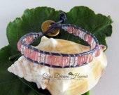 BOHO Beaded Leather Bracelet, Single Wrap Glass Bead Bracelet, Trendy Leather Wrap Bracelet, Transparent Pink Beads, Chan Luu Style