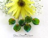 Lampwork Glass Leaf Headpins (6), Handmade Lampwork Glass Beads, Hawaii Handmade, Green, Aqua, Amber, Jewelry Findings, Lampwork Leaves