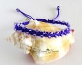 Stackable Boho Beaded Bracelet, Purple Beaded Macrame Bracelet, Handmade Bracelet, Friendship Bracelet, Silver Shamrock Charm