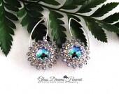 Swarovski Crystal Dangle Earrings, Sterling Silver Findings, Color Paradise Shine, Arch Shape Ear Wires, Timeless Style Earrings