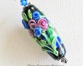 Floral Bouquet Glass Pendant, Lampwork Glass Bead Pendant, Hawaii Handmade Lampwork Glass, Romantic Pendant, Art Glass Pendant